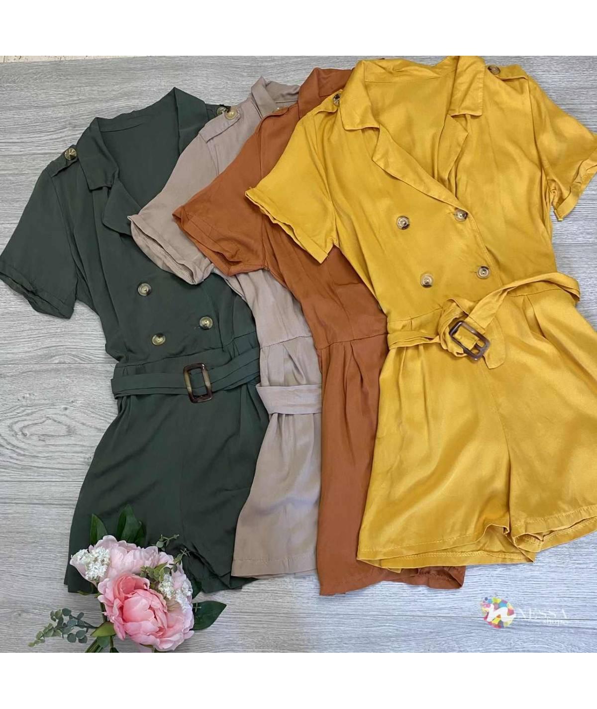 4-button short jumpsuit
